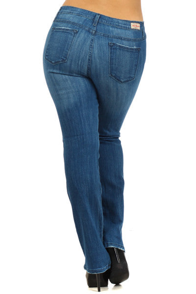 Medium Blue 5 Pocket Distressed Straight Leg Plus Jeans (XL through XXXL) - Fierce Berry - Plus size - Judy Blue - 3