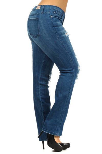 Medium Blue 5 Pocket Distressed Straight Leg Plus Jeans (XL through XXXL) - Fierce Berry - Plus size - Judy Blue - 4