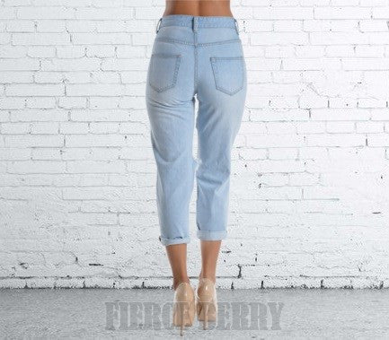 Cropped High Waisted Destroyed Boyfriend Jeans - Fierce Berry - jeans - American Bazi - 4