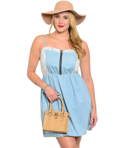 Light Blue Denim Plus Size Dress (XL through XXXL) - Fierce Berry - Plus size - Fierce Berry - 1