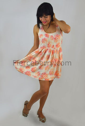 Cream Coral Dress - Fierce Berry - Dress - Fierce Berry - 1