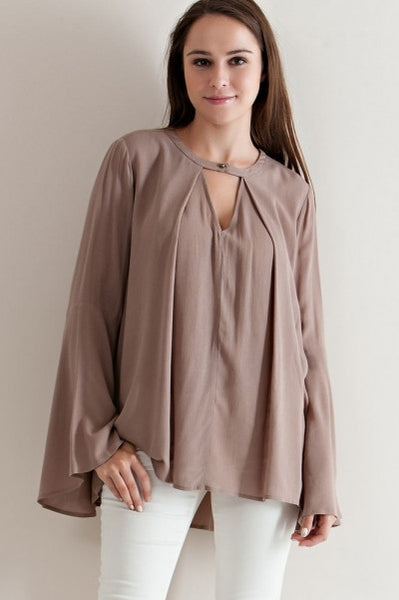 Solid Flare Jewel Neckline Cutout Blouse - Fierce Berry - shirts - entro - 2