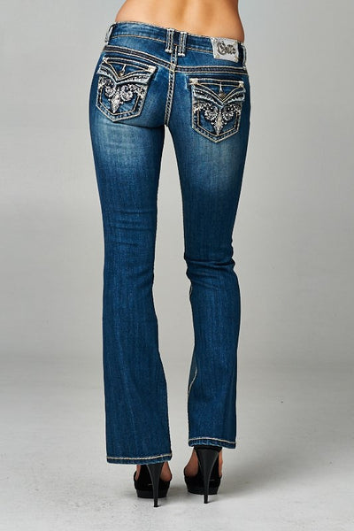 Cello Medium denim faded bootcut jeans with backflap pockets - Fierce Berry - jeans - Cello - 2
