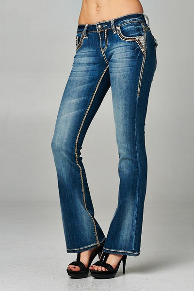 Cello Medium denim faded bootcut jeans with backflap pockets - Fierce Berry - jeans - Cello - 4