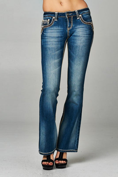 Cello Medium denim faded bootcut jeans with backflap pockets - Fierce Berry - jeans - Cello - 3
