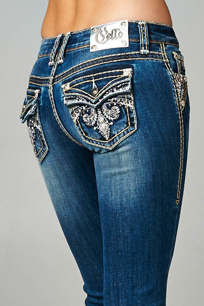 Cello Medium denim faded bootcut jeans with backflap pockets - Fierce Berry - jeans - Cello - 1