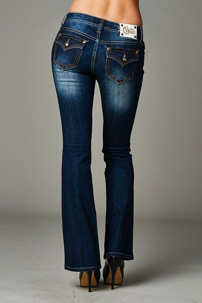 Cello Dark blue bootcut jeans - Fierce Berry - jeans - Cello - 4
