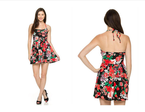 Floral printed summer dress - Fierce Berry - Dress - 2NE1 - 1