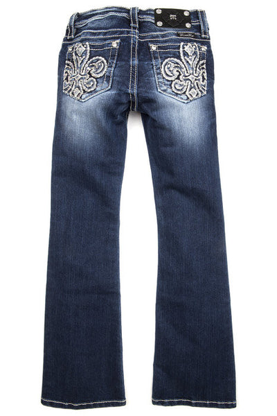 Tween Miss Me Sequins Embeliished Fleur De Lis Bootcut Jeans - Fierce Berry - girls jeans - Miss Me - 2