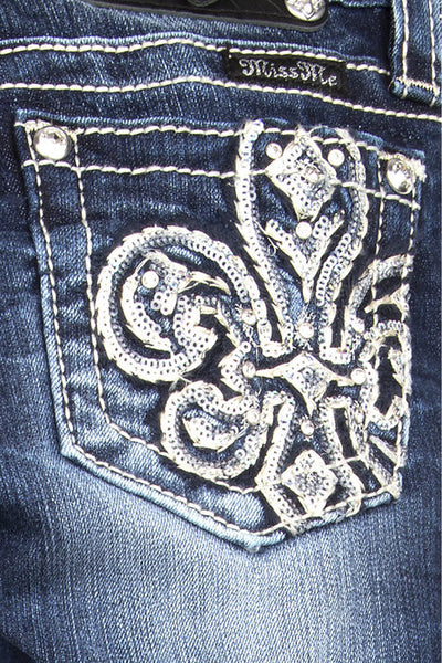 Tween Miss Me Sequins Embeliished Fleur De Lis Bootcut Jeans - Fierce Berry - girls jeans - Miss Me - 1