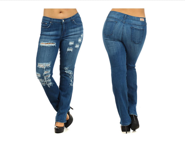 Medium Blue 5 Pocket Distressed Straight Leg Plus Jeans (XL through XXXL) - Fierce Berry - Plus size - Judy Blue - 1