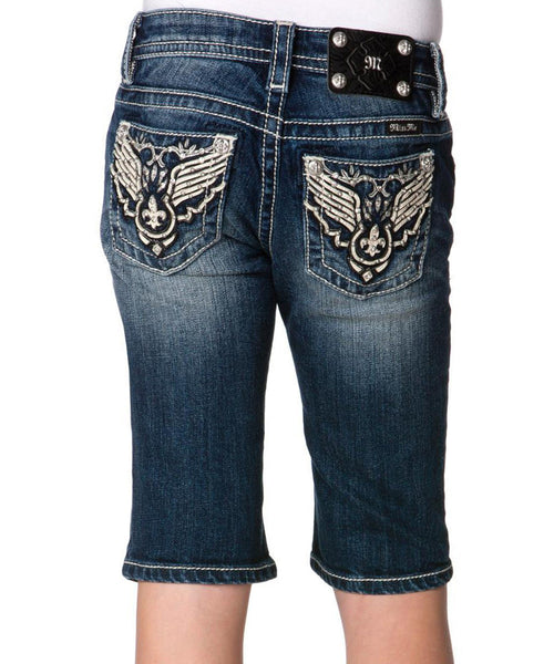 Tween Miss Me Dark Blue Western-Embellished Denim Bermuda Shorts - Fierce Berry - Girls shorts - Miss Me - 1