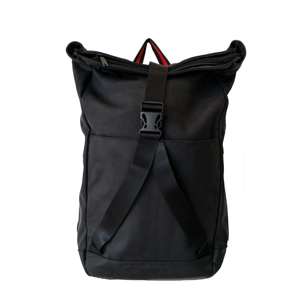 PU Red Stripe Black Casual Backpack