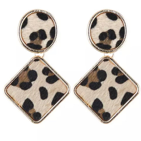 Leopard Pony Skin Large Earrings
