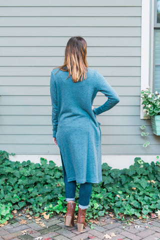 Relaxed Open-Front Long Sweater