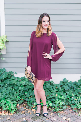 Long-Sleeve Cold-Shoulder Shift Dress