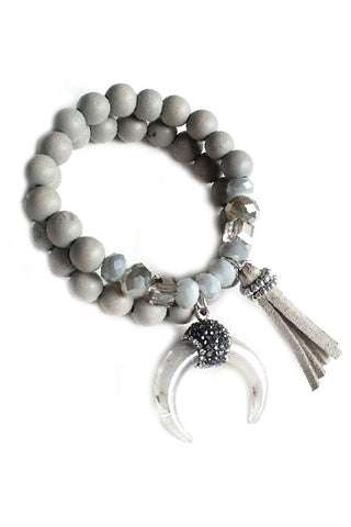 Beaded Boho Bracelet with Tassel in Grey
