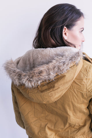 Womens Parka with Faux-Fur Trim Hood
