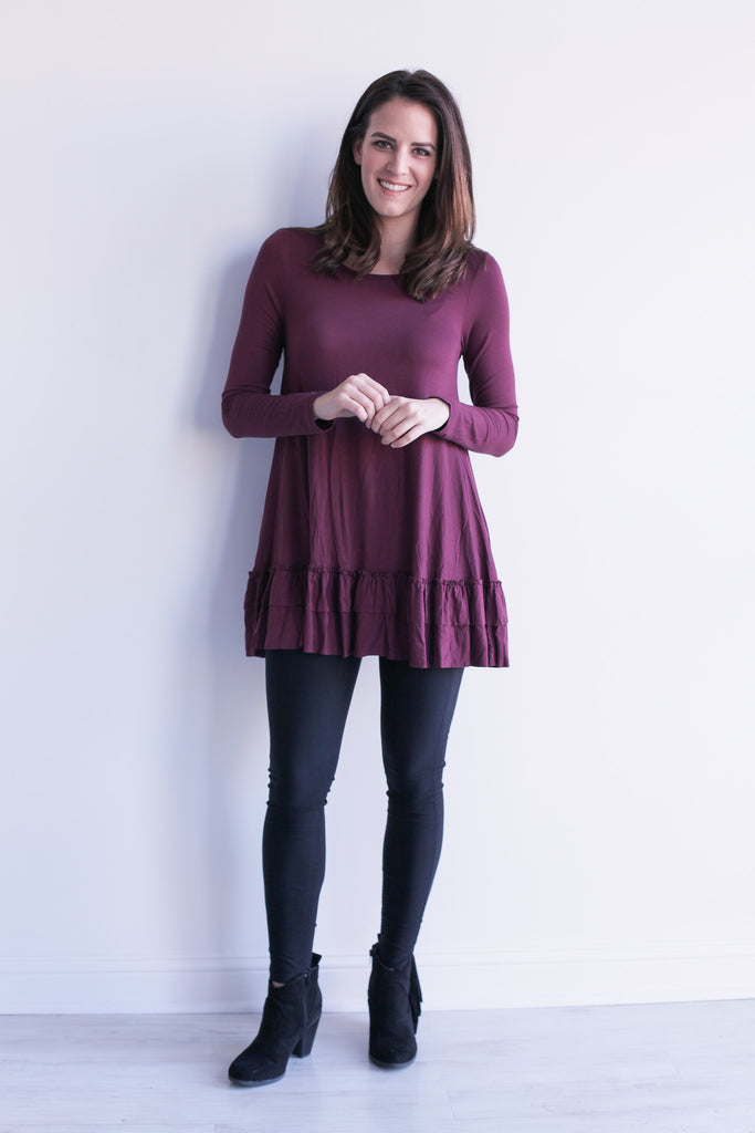 Ruffle Top in Burgundy