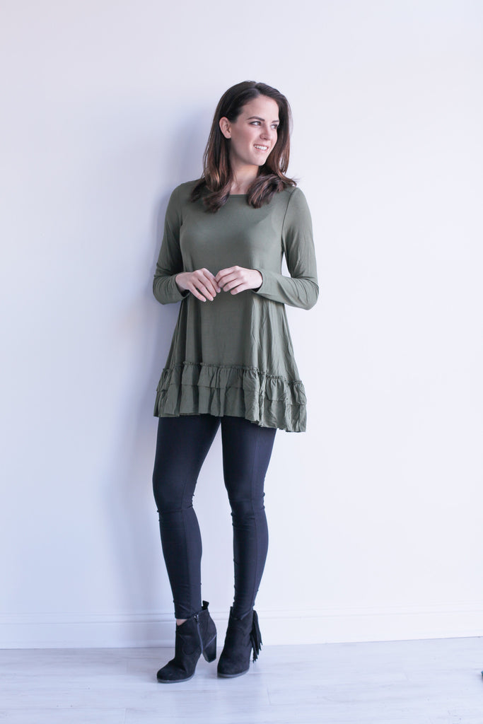 Ruffle Top in Olive
