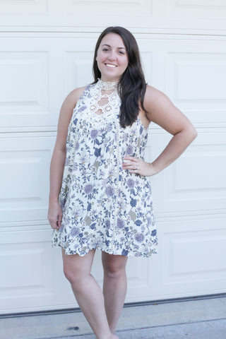 Floral Dress with Crochet Detail