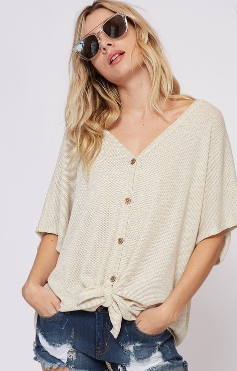 Light Weight Thermal Button Down Top-Oatmeal