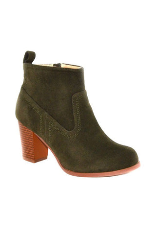 Women's Faux Suede Olive Booties