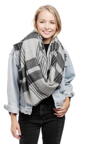 Black and Grey Plaid Scarf