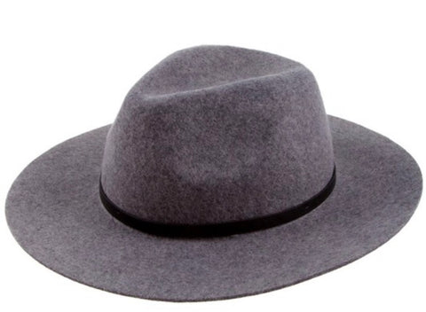 Women Wool-Felt Fedora Hat Grey