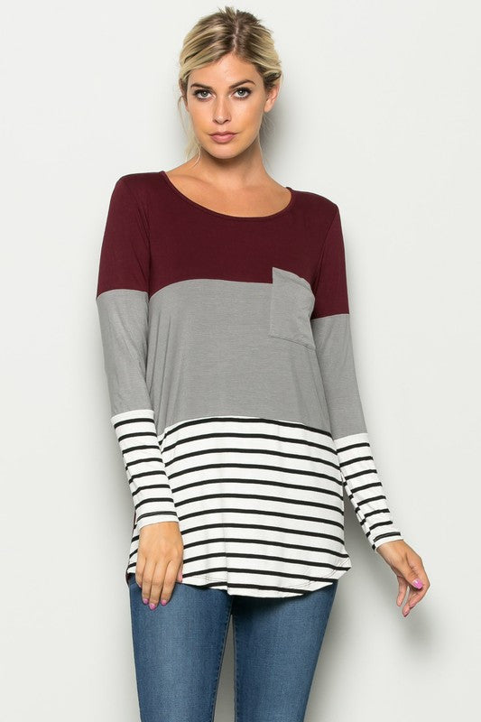 Burgundy and Stripped Top--Curvy