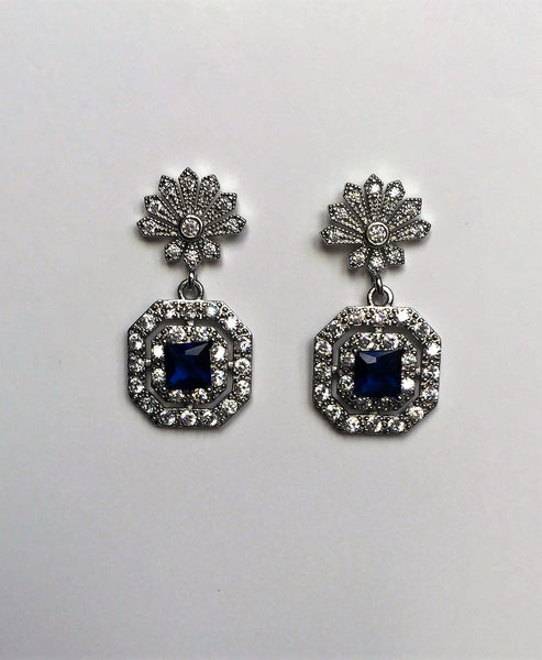 Blue Sapphire crystal earrings