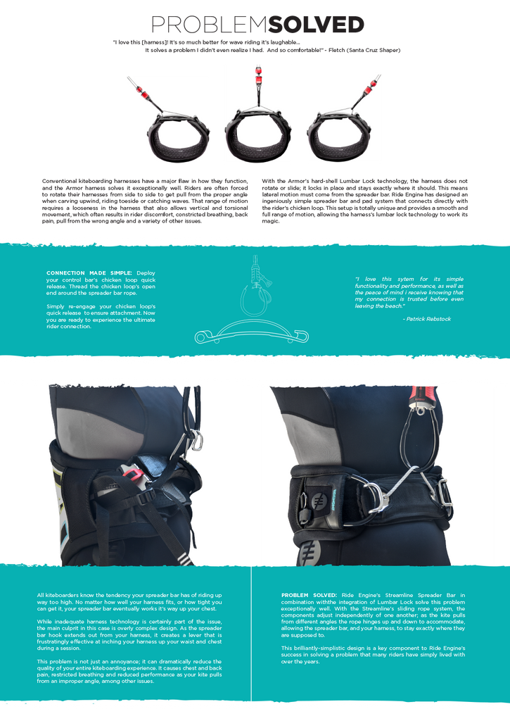 Ride Engine kiteboarding harness solves a critical kiting problem: too much speader-bar leverage