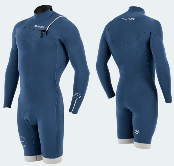 New - Manera Seafarer Men's Wetsuit - Hybrid - Front ZIP - 2.2/3.2mm