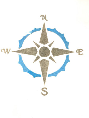Sandy Bottom Nautical Compass Color Canvas