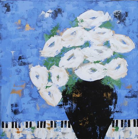 "SOLD!    ""Flowers on the Piano"" Ron York, artist"