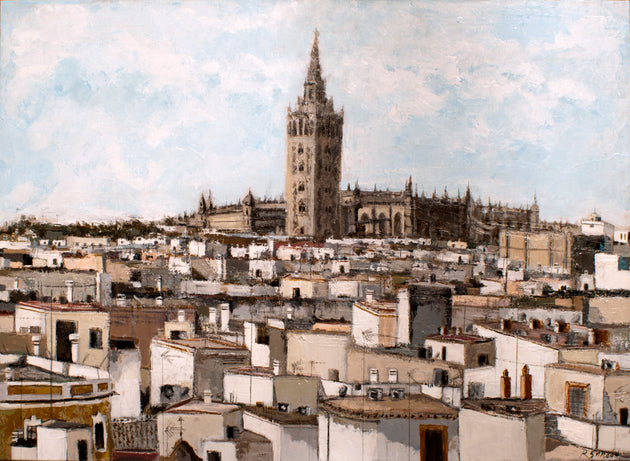 """Roofs of Seville from the Cervantes Institute and the Cathedral and the Geralda"" Rafael Garzón, artist"
