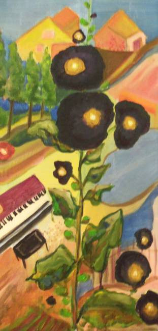 """Black Hollyhocks"" Karen J. Lee, artist"