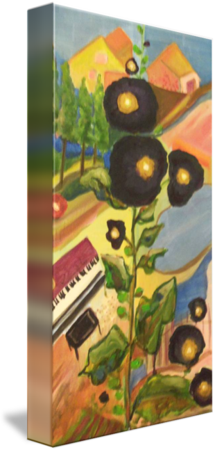 """Black Hollyhocks"" Print on Canvas Karen J. Black, artist"