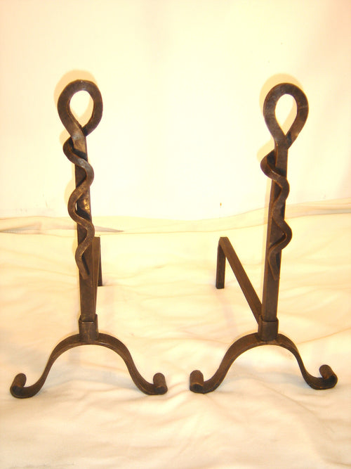 """Pigtail Design Andiron Set"" #2 James McGee Iron Designs"