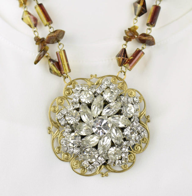 """1950's Vintage Brooch Necklace"" ReviveAmor Lacy Schoen, designer"