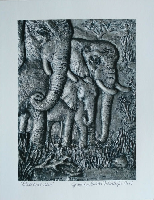 """Elephant Love"" print Jacquelyn Smith Windbigler, artist"