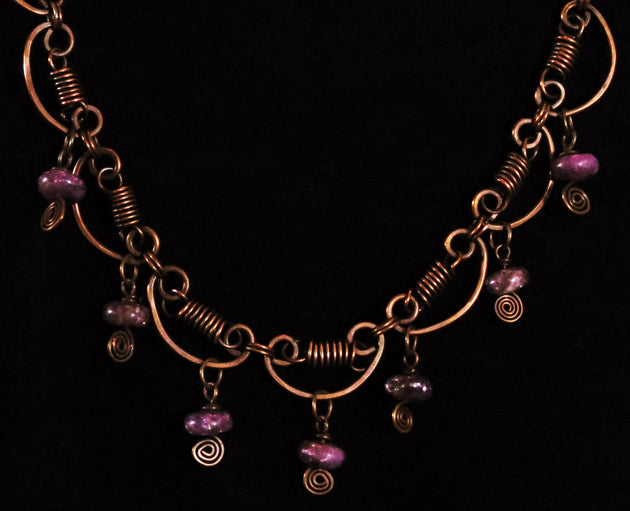 """Copper and Sugilite Necklace"" Madonna Reisz Bush"
