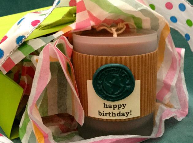 "7oz Frosted Tumbler Soy Candle ... ""happy birthday"""