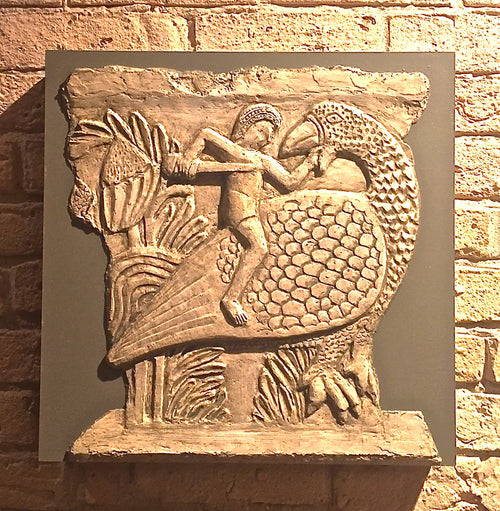 """Man Riding Bird Bas-Relief"" Jacquelyn Smith Windbigler, artist"