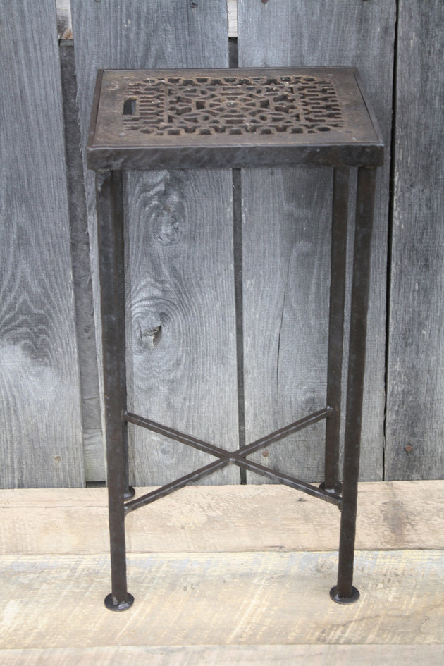 """Antique Grate Side Table"" #40 James McGee Iron Designs"