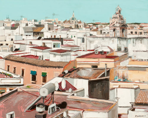 """Roofs of Seville from the Cervantes Institute and Iglesia del Salvador"" Rafael Garzón, artist"