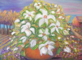 """Cottage Row White Floral"" Karen J. Lee, artist"