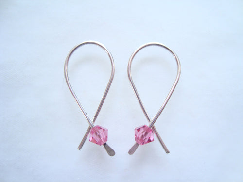 """Breast Cancer Awareness Pink Ribbon Earrings"" Amy Rohen, jewelry designer"