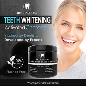 Activated Charcoal Natural Teeth Whitening Powder | 100% Organic Ingredients, Vegan, Premium Teeth Whitening | Remove Teeth Discolouration and Stains, Naturally Whiter Teeth by Dr Charcoal ®