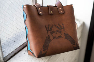 Hand and Hide leather tote bag with custom engraving